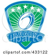 Royalty Free RF Clipart Illustration Of A Green And Blue Rugby Shield