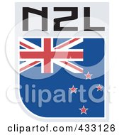 Royalty Free RF Clipart Illustration Of A Rugby Flag For New Zealand