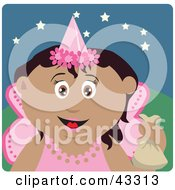 Clipart Illustration Of A Hispanic Girl Trick Or Treating On Halloween In A Fairy Princess Costume by Dennis Holmes Designs