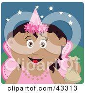 Hispanic Girl Trick Or Treating On Halloween In A Fairy Princess Costume