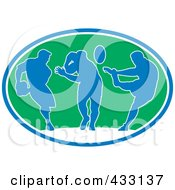 Royalty Free RF Clipart Illustration Of Blue Silhouetted Rugby Players In A Green Oval