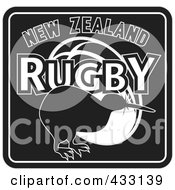 Royalty Free RF Clipart Illustration Of A Black And White New Zealand Kiwi Bird Rugby Sign by patrimonio
