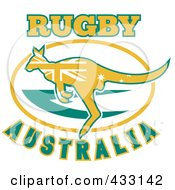 Royalty Free RF Clipart Illustration Of Rugby Australia Text With A Kangaroo 1