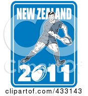 Royalty Free RF Clipart Illustration Of A Rugby Man On A Blue New Zealand 2011 Sign