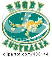 Royalty Free RF Clipart Illustration Of Rugby Australia Text With A Kangaroo 2