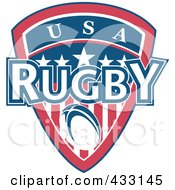Royalty Free RF Clipart Illustration Of A Rugby USA Shield