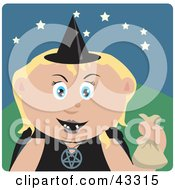 Clipart Illustration Of A Caucasian Girl Trick Or Treating On Halloween In A Witch Costume