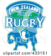 Royalty Free RF Clipart Illustration Of A Rugby New Zealand 2011 Icon 3