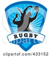 Royalty Free RF Clipart Illustration Of Silhouetted Rugby Men Over A Blue Shield