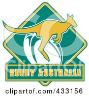 Royalty Free RF Clipart Illustration Of Rugby Australia Text With A Kangaroo 3