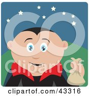 Clipart Illustration Of A Caucasian Boy Trick Or Treating On Halloween In A Vampire Costume by Dennis Holmes Designs