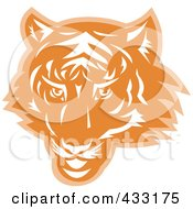 Royalty Free RF Clipart Illustration Of An Orange Tiger Head Logo by patrimonio