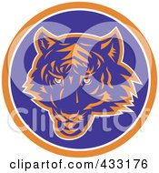 Royalty Free RF Clipart Illustration Of A Blue And Orange Tiger Logo by patrimonio