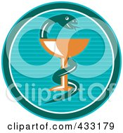 Royalty Free RF Clipart Illustration Of A Blue Medical Snake And Cup Logo