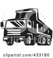 Royalty Free RF Clipart Illustration Of A Retro Dumptruck In Black And White