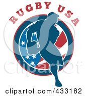 Royalty Free RF Clipart Illustration Of A Rugby Man Passing Over A Round American Flag