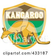 Royalty Free RF Clipart Illustration Of A Kangaroo On A Shield by patrimonio
