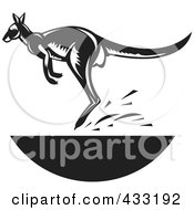 Royalty Free RF Clipart Illustration Of A Retro Black And White Jumping Kangaroo by patrimonio