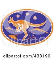 Royalty Free RF Clipart Illustration Of A Juming Kangaroo And Stars Logo
