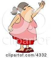 Obese Woman Waving Her Hand Goodbye Or Hello