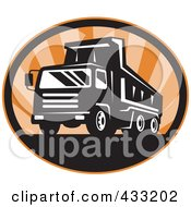 Royalty Free RF Clipart Illustration Of A Retro Dumptruck Logo With Orange Rays