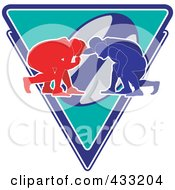 Royalty Free RF Clipart Illustration Of Silhouetted Crouched Rugby Players Over A Triangle