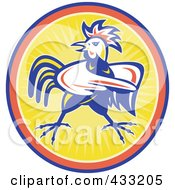 Royalty Free RF Clipart Illustration Of A Mad Pointing Rooster Logo 2