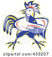 Royalty Free RF Clipart Illustration Of A Mad Pointing Rooster Logo 1
