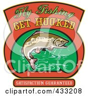 Royalty Free RF Clipart Illustration Of A Trout With Fly Fishing Get Hooked Text