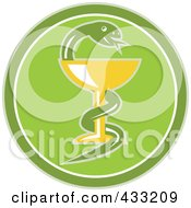 Royalty Free RF Clipart Illustration Of A Green Medical Snake And Cup Logo