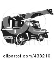 Royalty Free RF Clipart Illustration Of A Black And White Retro Rough Terrain Crane by patrimonio