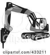 Retro Black And White Excavator