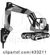 Retro Black And White Excavator