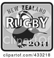 Royalty Free RF Clipart Illustration Of A Black And Gray New Zealand Kiwi Bird Rugby Sign by patrimonio