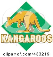 Royalty Free RF Clipart Illustration Of A Kangaroo And Text Over A Green Diamond by patrimonio
