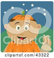 Clipart Illustration Of A Latin American Boy Trick Or Treating On Halloween In A Pumpkin Costume
