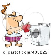 Royalty Free RF Clipart Illustration Of A Caucasian Man Holding A Tiny Shirt Fresh Out Of The Dryer by toonaday