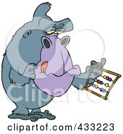 Royalty Free RF Clipart Illustration Of A Gorilla Using An Abacus by toonaday