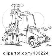 Royalty Free RF Clipart Illustration Of Coloring Page Line Art Of A Patrol Officer Staring At His Beat Up Car