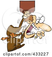 Royalty Free RF Clipart Illustration Of An Aggressive Cartoon Businessman Jumping