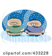 Royalty Free RF Clipart Illustration Of Two Alaskans In The Snow Over A Blue Oval