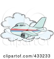 Royalty Free RF Clipart Illustration Of A Commercial Airliner Passing A Cloud In Flight by toonaday