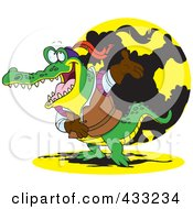 Royalty Free RF Clipart Illustration Of An Actor Crocodile Bowing by toonaday