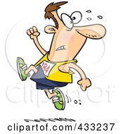 Royalty Free RF Clipart Illustration Of A Runner Man Ahead Of The Crowd by toonaday