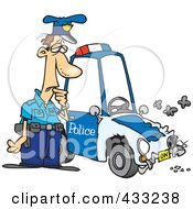 Royalty Free RF Clipart Illustration Of A Patrol Officer Staring At His Beat Up Car by toonaday