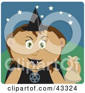 Clipart Illustration Of A Hispanic Girl Trick Or Treating On Halloween In A Witch Costume