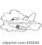 Royalty Free RF Clipart Illustration Of A Coloring Page Line Art Of A Commercial Airliner Passing A Cloud In Flight by toonaday