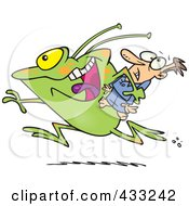 Royalty Free RF Clipart Illustration Of A Frog Like Monster Or Alien Abducting A Scared Man by toonaday