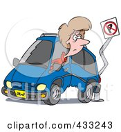 Royalty Free RF Clipart Illustration Of A Woman Backing Her Minivan Into A Pole by toonaday
