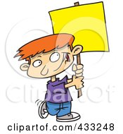 Royalty Free RF Clipart Illustration Of A Happy Caucasian Boy Advertising With A Blank Sign